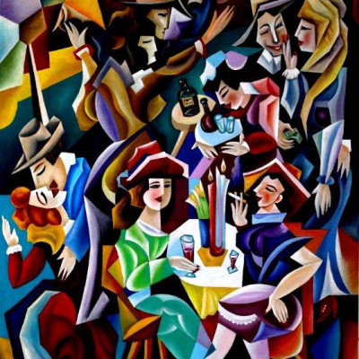 Composition--Cafe--mixed--technics-on-canvas--110x--80cm